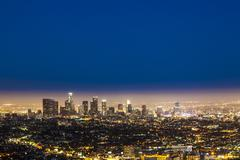 skyline of Los Angeles by night - stock photo