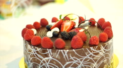 Chocolate cake with strawberry Stock Footage