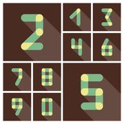 Numbers. Icons set. Vector flat design - stock illustration