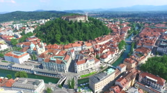 Aerial view of Ljubljana Castle on the river Ljubljanica, Slovenia Stock Footage
