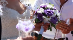 Wedding bouquet in hands of the bride Stock Footage