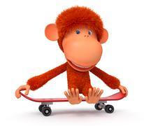3d monkey on a skateboard Piirros