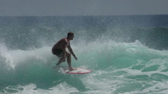 Riding the surf wave at Balangle beach 2 Bali Stock Footage