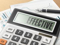 calculator with the word effective - stock illustration