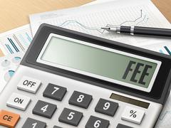 Calculator with the word fee Stock Illustration