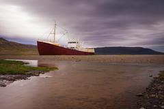 Wreck of Fishing boat, Iceland - stock photo