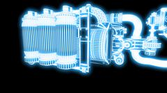 Steampunk mechanism blue grid on black background Piirros