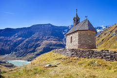 Small chapel on Grossglockner Hochalpenstrasse - stock photo