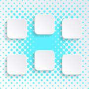 Blank white square buttons Stock Illustration