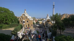Park Guell with Gaudi's sculptures in Barcelona Stock Footage