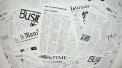Loopable background from news paper, fish-eye view, camera moves up and down Stock Footage