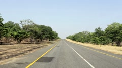 Driving on Endless road in Namibia - stock footage