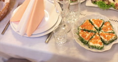 Restaurant. Table. Food. Red caviar. - stock footage