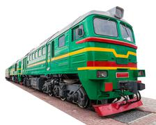 the old green locomotive - stock photo