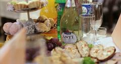 Restaurant. Table. Food. Fish. Wine. Stock Footage