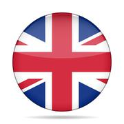 button with Great Britain flag - stock illustration