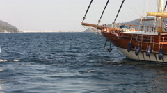 Old-style vessel in harbour. Close up Stock Footage