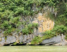 Limestone rock and vegetation over river - stock photo