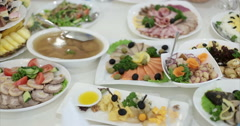 Restaurant. Table. Food. Meat. Fish. Stock Footage