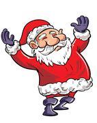 Cartoon happy Santa with arms waving - stock illustration