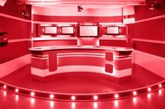 red television studio - stock photo