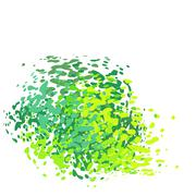 Stock Illustration of abstract liquid green drip splatter silhouette on white