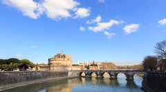 Castle Sant Angelo. Rome, Italy. Time Lapse. 4K Stock Footage