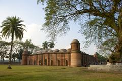 Stock Photo of Shat Gombuj Mosque exterior in Bagerhat, Bangladesh