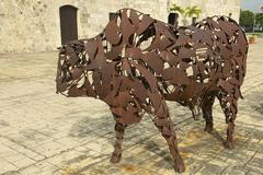 Stock Photo of Iron Bull artwork in Santo Domingo Colonial Zone, Dominican Republic.