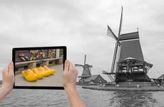 Monochromatic concept travel to Netherlands Stock Photos