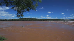 River. Foz do Iguazu, Brazil. World Famous Iguazu Falls. Paradise Stock Footage