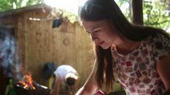 Woman preparing picnic stuff Stock Footage
