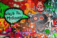 John Lennon Wall in Prague, Famous Tourist Sightseeing - stock photo