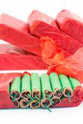 Red packets with green firecrackers - stock photo