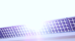 Sun light shine through solar cell roof - stock footage