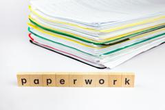 Pile of papers with text paperwork Stock Photos