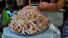 Chicken Feet Sold at Wet Market Stock Footage