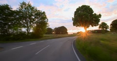 Driving a car - POV - Road into the Sunset - Part 6 of 8 Stock Footage
