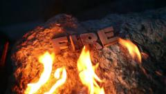 Fire Word at night Stock Footage