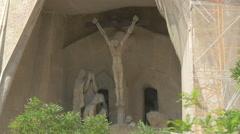 Stock Video Footage of Jesus Christ crucified statue on Sagrada Familia, Barcelona