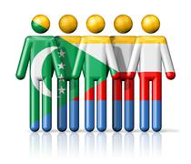 Flag of Comoros on stick figure - stock illustration