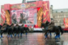 Parade on Red Square in Moscow blur background - stock photo