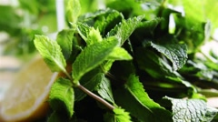 Lemon and mint drink Stock Footage