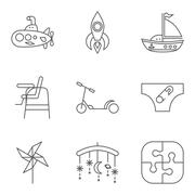 Baby thin line related vector icon set - stock illustration