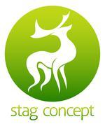 Deer stag circle design Stock Illustration
