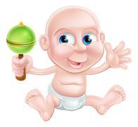 Happy cartoon rattle baby - stock illustration