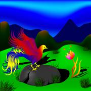 mystical bird and beautiful flower in a beautiful meadow in the mountains - stock illustration
