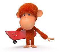 3d monkey on a skateboard - stock illustration