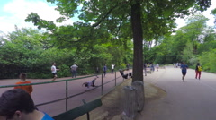 PARIS, POV, people practicing sports in park Buttes-Chaumont. Stock Footage