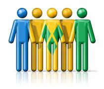 Flag of Saint Vincent and the Grenadines on stick figure Stock Illustration